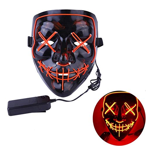 XWYWP Mscara de Halloween de nen LED Mscara de fiesta de disfraces Purga Mscaras de miedo mscara de terror mscara Cosplay Disfraz Led DJ Fiesta Luz C