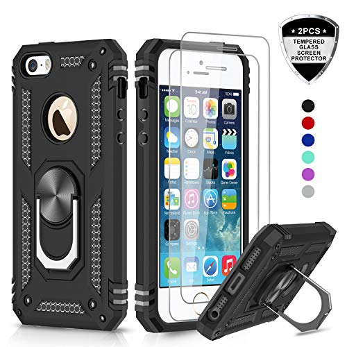 LeYi iPhone se Case, iPhone 5s Case, iPhone 5 Case with Tempered Glass Screen Protector [2 Pack], Military Grade Protective Phone Case with Ring Magnetic Car Mount Kickstand for iPhone 5/5s/se, Black