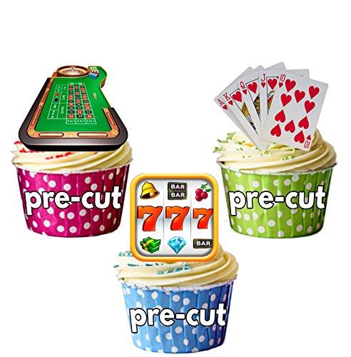 Party Pack–36x Casino Glücksspiel Slot Maschine Mix Kuchendekoration Essbar