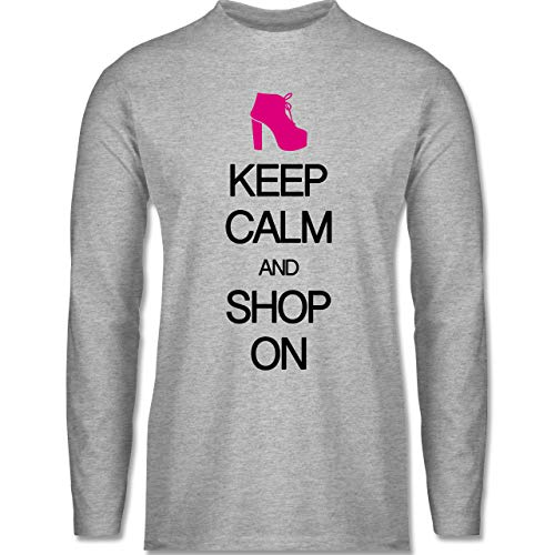 Keep Calm - Keep Calm and Shop on - XXL - Grau meliert - High Heels - BCTU005 - Herren Langarmshirt