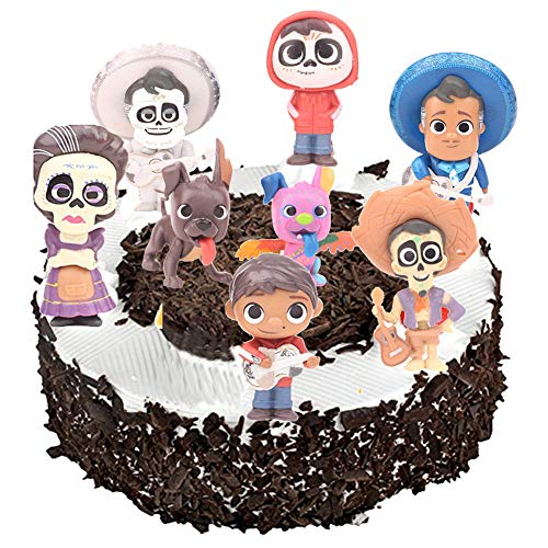 8PCS Coco Movie Cupcake Toppers Miguel Cake Topper Birthday Party Decorations Action Figure Sets