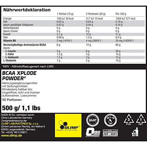 Olimp BCAA XPlode , Zitrone, 500 g - 5
