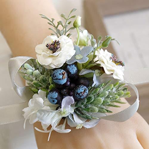 Pulsera de boda para niñas, dama de honor, flores de muñeca, para hombres, boda, ramillete de muñeca, tela azul, flores de mano, accesorios de boda, flores de muñeca (color: flores de muñeca C)