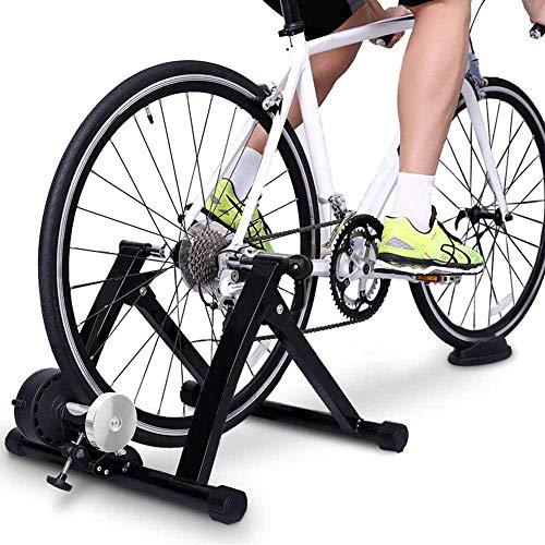Tanceqi Fietstrainer, fitnessframe, vaststaand, inklapbaar en eenvoudig op te bergen, voor binnen en buiten, garage, zwart