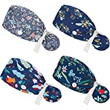 4 Pieces Bouffant Turban Hats with Buttons Ponytail Holder and Sweatband Scrub Caps Adjustable Ponytail Pouch Tie Back Hats Long Hair Covers for Women