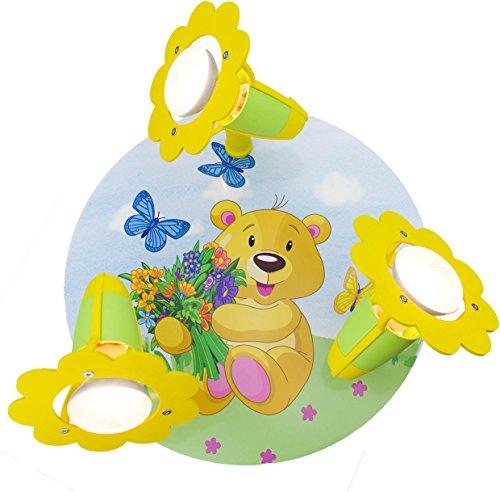 Elobra Kinder Lampe Rondell Teddy Bär Deckenleuchte Kinderzimmer Holz, grün/gelb 131251