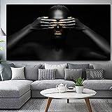 N / A Pintura sin Marco Lienzo Negro Africano Modelo Femenino impresión de póster Pintura al óleo Fresca Sala de Estar Dormitorio decoración Pintura ZGQ5829 50X75 cm