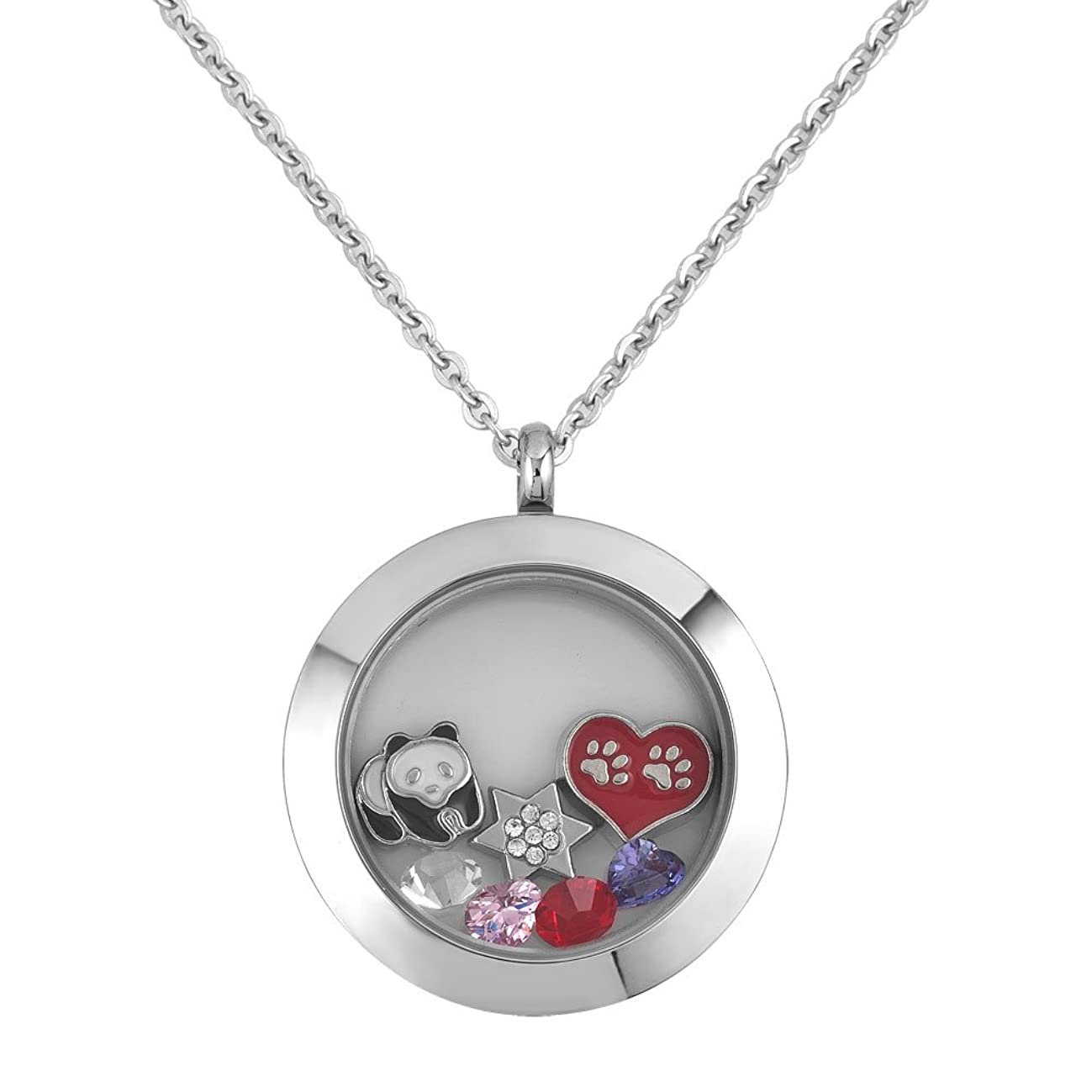Q&Locket Panda Star Animal Floating Charms Glass Living Memory Locket Pendant Necklace