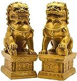 HYBUKDP Estatuas Las estatuas de bronce puro Beijing leones Par Fu Foo Perros Feng Shui Decoración prosperidad Figurines esculturas de animales Suerte Riqueza Home Office negocios de regalos Escultura