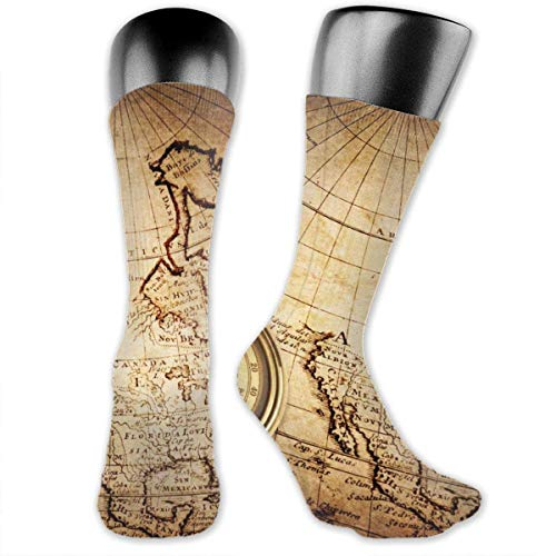 Old Compass Rope On Vintage Map Unisex Moisture Wicking Athletic Crew Socks,Casual Socks,Short Sock Flexible And Breathable,Lightweight And Durable Very Suitable Running, Walking, Gym Fitness.