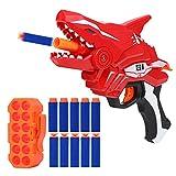 TINLEON Foam Blasters Toy - Pistola de hasta 65 pies de Alcance Compatible para Nerf Fortnite con 12 Dardos de Recambio, Shark Manual Burst Soft Bullet Gun Regalos para Fiestas para 6+ Niños Niñas