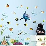 Wallpark Bajo el agua Mundo Delfín Pescado Algas marinas Coral Desmontable Pegatinas de Pared Etiqueta de la Pared, Bebé Niños Hogar Infantiles Dormitorio Vivero DIY Decorativas Adhesivo Arte Murales