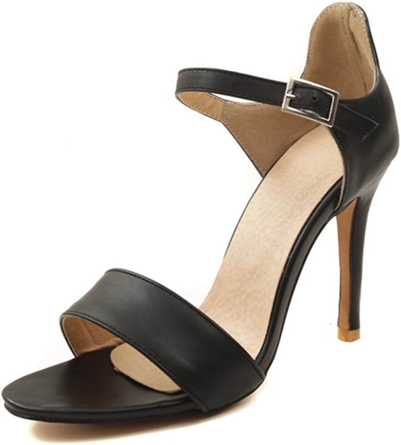 Women Sexy Heeled Sandals Summer Stiletto Open Toe Ankle Strap Buckle Dress shoes Party Pumps