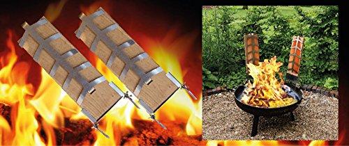 2 TB01N59A87Heilige zalmset: 2 houten vlammzalmplanken incl. 2 roestvrijstalen houders voor bevestiging aan vuurschalen met verstelbare hellingshoek