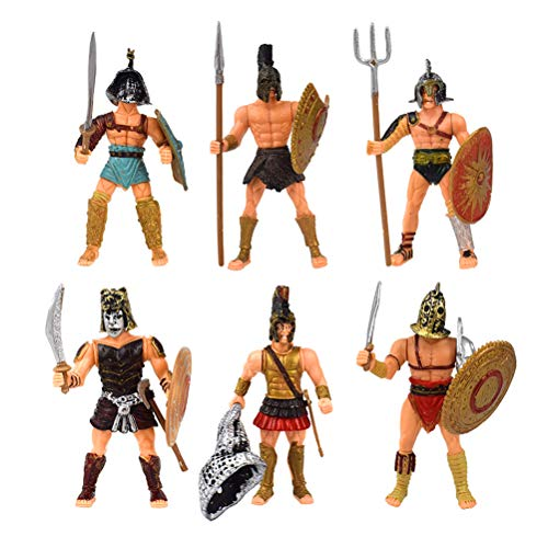 Odowalker 6pcs Ancient Roman Soldier Figures Gladiator Playsets Toy Medieval Spartan Army Warriors Rome Empire Gladiator Soldiers with Weapons and Shield