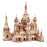 ROBOX 3D Wooden Puzzle for Adults Crafts St. Basil's Cathedral Model Kit Assembled Construction Building Blocks Wooden Puzzle Christmas Party Home Decoration Assembly Gifts for Teen,Husband,Wife