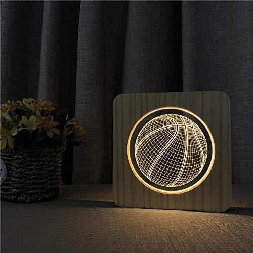 Basketball Acryl Holz Nachtlicht Tisch Lichtschalter Steuerung Sport Carving Lichter für Kinderzimmer Dekoration Raumschiff