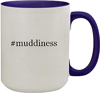 #muddiness - 15oz Hashtag Ceramic Inner & Handle Colored Coffee Mug, Deep Purple