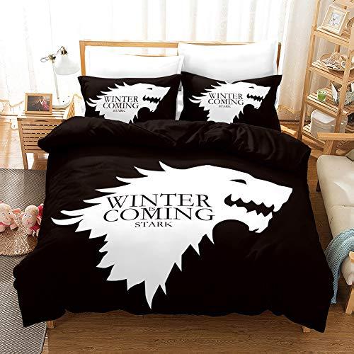 DCWE Bettwäsche-Set, Bettbezug und 2 Kissenbezüge, Mikrofaser, 3D-Digitaldruck, 3-teilig, Games of Thrones (BH16,135 x 200 cm)