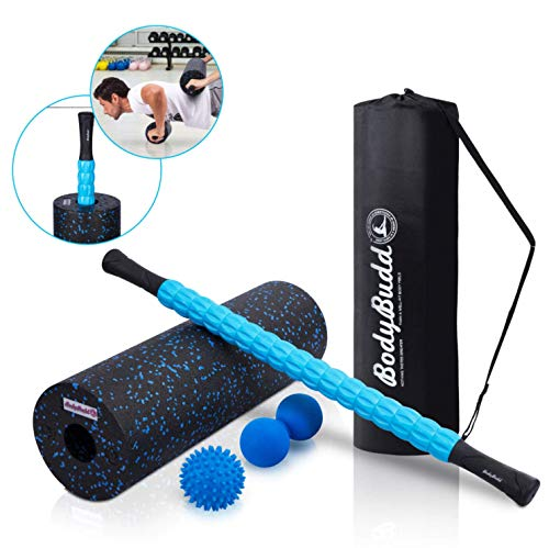 BodyBudd 18' Foam Roller Set with Muscle Roller Stick, Large Peanut Ball & Firm...