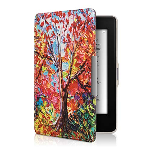 kwmobile Hülle kompatibel mit Amazon Kindle Paperwhite - Kunstleder eReader Schutzhülle Cover Case (für Modelle bis 2017) - Herbstbaum Mehrfarbig Orange Rot