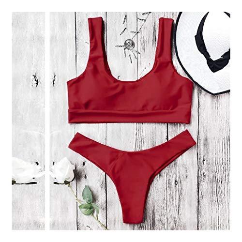 V profunda Pecho del traje de baño de las señoras atractivas de la manera del cojín color sólido del pectoral del traje de baño ropa de playa bikini de dos piezas Hermoso ( Color : Red , Size : S )