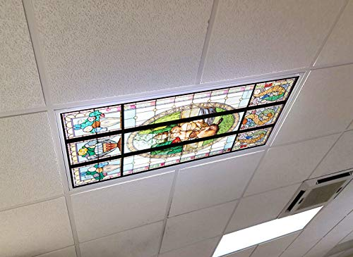 Fantasy Stained Glass - 2ft x 4ft Drop Ceiling Fluorescent Decorative Ceiling Light Cover Skylight Film