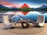Foto Mural Pared 3D Lago Swiftcurrent alba Fotomurales Decorativos Pared 3D ART Póster Sala de Estar Dormitorio TV Fondo 350cm(W) x256cm(H)-7 Stripes