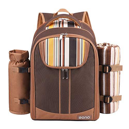 Eono by Amazon - Bolsa para refrigerador con mochila para picnic, 4 personas, juego de vajilla y manta