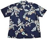 かりゆしウェア フラワーパッション オープンシャツ(ゆったりタイプ)   半袖 アロハシャツ かりゆし メンズ シャツ 沖縄 結婚式 MANGO PLUS マンゴ プラス アジアン (ネイビー,L)