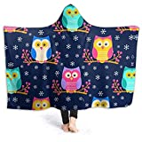 ARTIEMASTER Colored owl Hooded Blanket Soft and Lightweight Flannel Throw Suitable for Use in Bed, Living Room and Travel 60'x50' for Teens