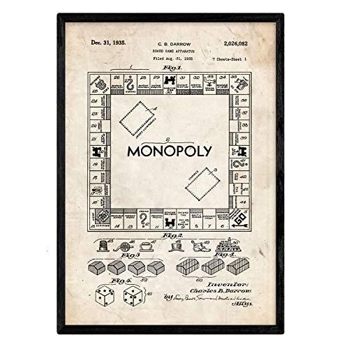 Poster Nacnic Patent Monopoly. Blad met oud designoctrooi op A3-formaat en vintage achtergrond