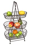 WB wohn trends Etagere aus Metall mit 3 Körben für Obst & Gemüse - Obst-Korb Obst-Schale Shabby Landhaus Vintage