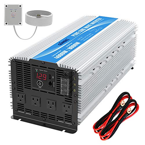 GIANDEL 4000W Heavy Duty Pure Sine Wave Power Inverter DC12V to AC120V with 4 AC Outlets with Remote Control 2.4A USB...