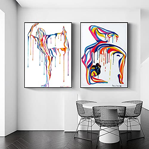 Pintura abstracta moderna de yoga, lienzo de bailarina, carteles artísticos de pared, impresiones, imagen nórdica para sala de estar, decoración del hogar, 40x60cmx2 sin marco