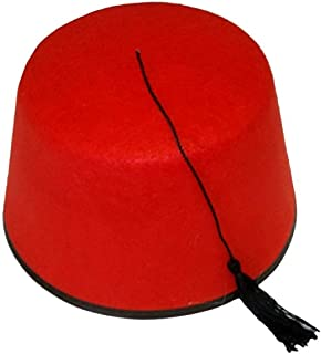 Spinbit Adult Red Fez Tarboosh Hat Cooper Moroccan Turkish Fancy Dress Up Accessory One Size