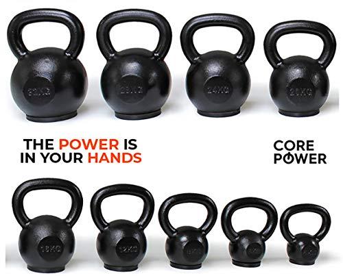 Core-Power® Cast Iron Kettlebell/Gusseisen Kugelhantel 4-32kg hochwertigste Eisenerz Pro Qualität für Gym, Fitness und Crossfit Gummi Stellfläche für Bodenschutz