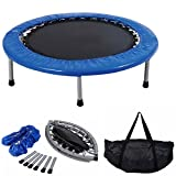 "COSTWAY Mini Trampoline Set, 38"" Foldable Fitness Bouncer with Carry Bag, Padding"