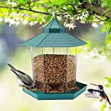HIPPIH Wild Bird Feeder Hanging for Garden Yard Outside Decoration, Hexagon Shaped with Roof Hanging Wild Birds Feeder Perfect for Mix Seed Blends 2.6lb Capacity Gazebo Bird Feeder