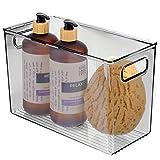 mDesign Cajas de plástico con asas – Organizador transparente con diseño atractivo – Cajas organizadoras para guardar cosméticos en el baño – gris oscuro