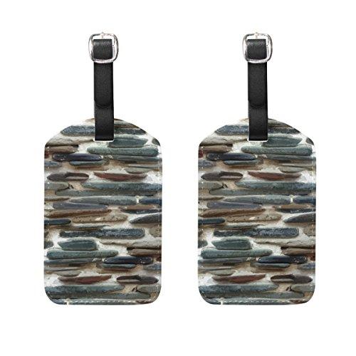 COOSUN Stone Wall Etichette Viaggi etichette segnaprezzo carta di nome per il bagaglio Valigia Bag Zaini, 2 PCS M multicolore