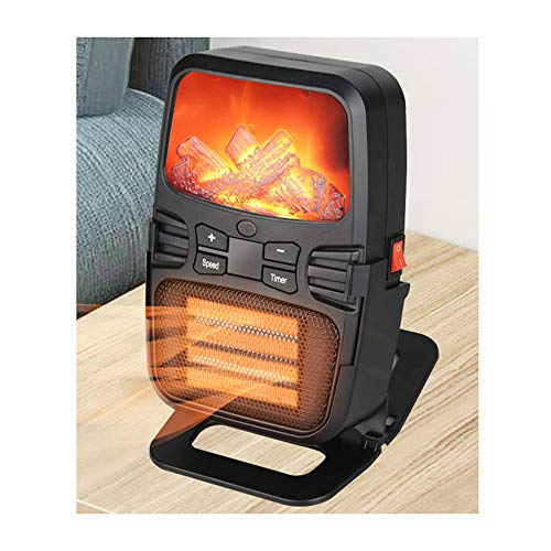 WWZL Flammenheizung, Mini Tragbare Desktop-Heizung, 500W Elektronischer Simulationskamin Kleiner Heißer Haushaltsventilator