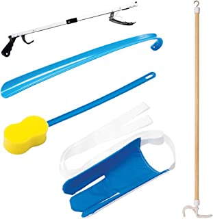 Carex 5 Piece Hip Kit - Hip Kit for Total Hip Replacement - Includes Metal Grabber Reacher Tool, Long Handled Shoe Horn, Sock Slider Sock Aide, Shoe Horn, Long Handled Bath Sponge, and Dressing Stick