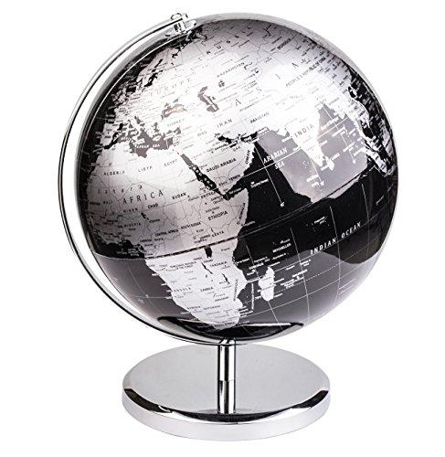 Exerz 30cm Globo Terráqueo - en Inglés - Decoración de escritorio educativa/geográfica/moderna - Con una base de metal - Negro Metálico - Diámetro: 30cm