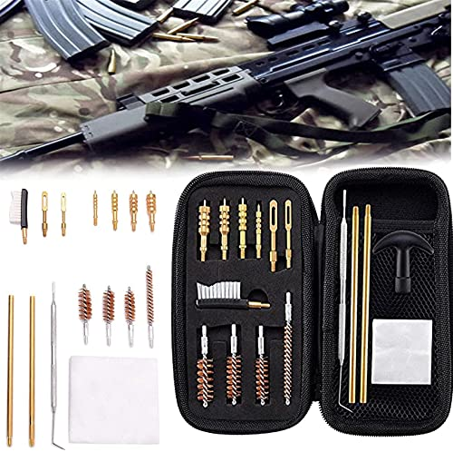 wsbdking 16pcs Handgun Rifle Kit de Limpieza, Kit con Pinceles de Bronce de Bronce de múltiples Calibre con cepillos de algodón Mopas de algodón Barras de Limpieza de latón en Estuche Organizador con