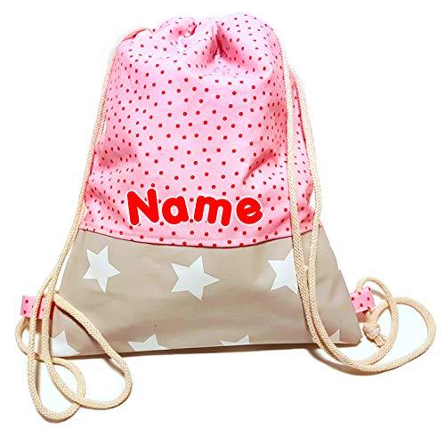 la.nunu Turnbeutel mit Wunschnamen - Rosa mit Punkten Klein - Handarbeit - Rucksack Namen Kinder Kindergarten Schule Kita Mädchen