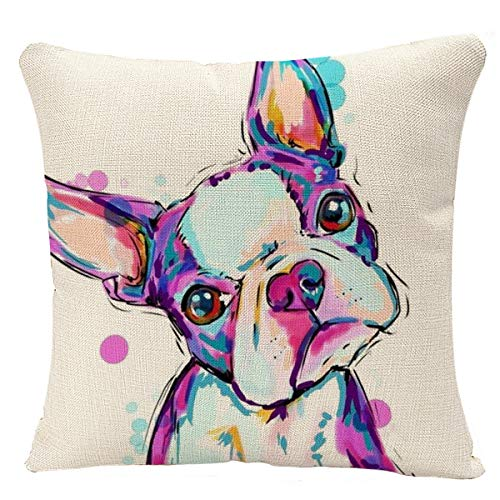 YGGQF Animal Throw Pillow Cover  Boston Terrier Dog Decorative Cushion Bulldog Throw Pillow Car Chair Home Decor Pillow Case for Sofa 18x18 Inches