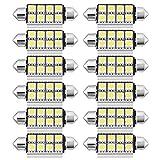 Garneck 12Pcs LED Ampoules Feston Voiture Dôme Lumière Brillante 42Mm 5050 8Smd Automobile Intérieur Voiture Ampoules pour Plaque D'immatriculation Dôme Carte Porte Courtoisie