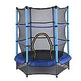 Cama elástica para niños, diámetro de 140 cm, cama elástica para exteriores, resistente con red de seguridad, para interiores y exteriores, adecuada para niños mayores de 3 años, soporta hasta 50 kg