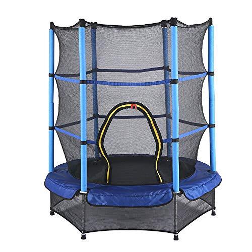 Cama elástica para niños, diámetro de 140 cm, cama elástica para exteriores, resistente con red de seguridad, para interiores y exteriores, adecuada para niños mayores de 3 años, soporta hasta